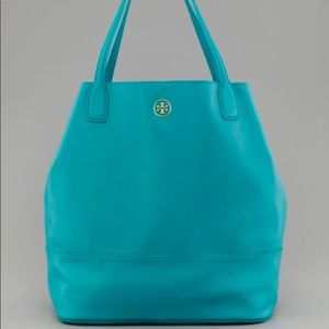 Tory Burch Michelle teal leather tote